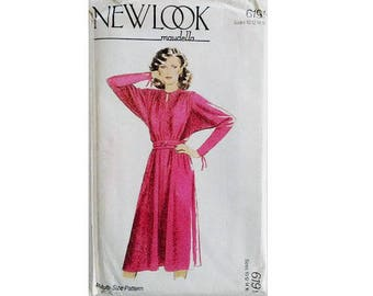 "UNCUT Vintage 80's New Look Maudella #6191 Sewing Pattern Raglan Dolman Sleeve Belted Dress 4 Sizes  Bust 32.5"" 34"" 36"" 38"" UK 10 12 14 16"