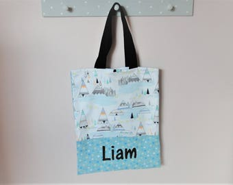 """Tote bag / library bag """"tipi and indien"""" customizable ON ORDER maternal or extra-curricular activities"""