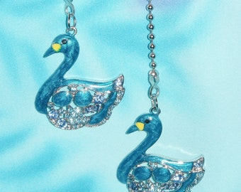 Set of Two ~ Swan Blue Metal Decorative ~ Ceiling Fan Pulls