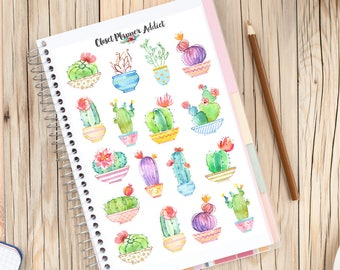Cute Watercolour Cactus Planner Stickers | Mystery Grab Bag April 2017 | Cactus Stickers | Succulents Stickers | Kawaii Stickers (MGB-APR17)
