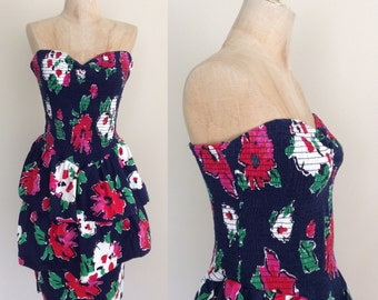 1980's Floral Cotton Summer Dress w/ Tiered Skirt Vintage Strapless Dress    Party Dress SizeMedium by Maeberry Vintage