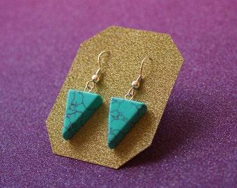 Howlite Geometric Earrings, Turquoise Earrings, Sterling Silver Earrings, Natural Stone Earrings, Triangle Earrings, Drop Earrings, For Her
