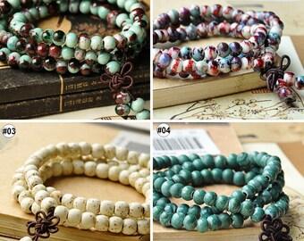 1PC Mixed Color Jingdezhen Porcelain Jewelry Beads Ceramic Bracelet Handmade