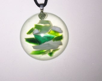 Green Stained Glass Resin Pendant