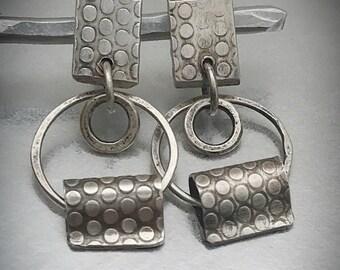 Sterling silver polka dot stud forward facing hoop earrings