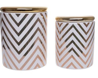 ZigZag white and gold container