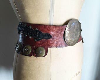 Vintage Hippie Boho Brown Leather Belt | Studded Belt |  Brass Buckle Belt | Brass Details | Waist 28 to 32.5