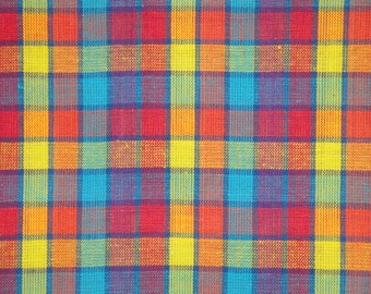 Cotton Fabric   Homespun Fabric   Plaid Fabric   Multi Color Plaid   1 Yard