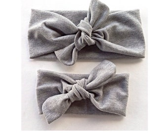 Signature knotted headbands in gray for mommy and baby - matching mommy and me headbands - top knot stretchy headwrap