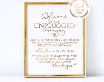 Copper Foil Print Welcome to our unplugged wedding, Wedding Sign, Wedding Reception Decor, No cell phones sign, Wedding Ceremony Sign, S2
