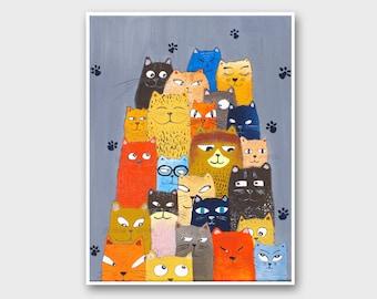 Cat painting PRINT, Cat picture, Cat illustration chat, painting Cat wall art, Peinture chat, Cat pictures, Art Prints, Cat Portrait art