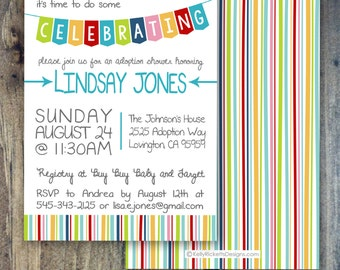 Celebrate! Adoption Invitation, Shower, Party or Finalization. For International, Baby or Foster Adoption!