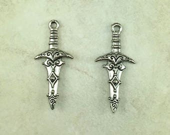 Excalibur Sword Charms - Knight Broad Ornate Hilt Warrior Caledfwlch Unfinished American Made Lead Free Silver Pewter I ship internationally