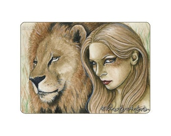 Regal Limited Edition ACEO Print Artist Trading Cards ATC lion shaman fantasy art tan blonde wild cat animal