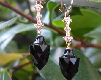 Victorian Mourning Onyx Urn Shaped Drop Earrings