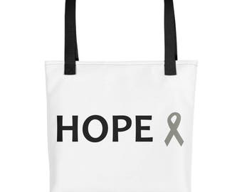 Hope Gray Awareness Ribbon Tote Bag, Chronic Illness Tote Bag, Gray Ribbon, Tote Bag, Awareness Ribbon
