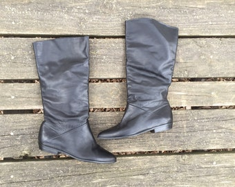 Boots - Size 7.5 Black Leather Tall Midcalf Slouch Boots Made in Uruguay Womens 7 1/2