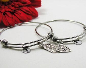 Best Friends Bracelet Bangle - Best Friend Pizza Charm - Friendship Charm Bracelet - Initial Bracelet - Personalized Gift - Custom Bracelet