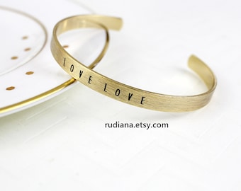 LOVE LOVE  Simple Gold Cuff, Gold Cuff, Love Bracelet, Gold Simple Bracelet,Bridesmaid Gift, RBT-6002