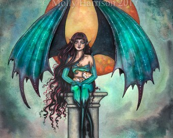 Fire Moon - Original Watercolor and Mixed Media Painting by Molly Harrison - Gothic Fairy Vampire, Cat, Moon, Autumn, Fall Fantasy Art