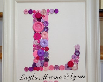 Custom Button Monogram, large button letter, personalized baby gift, button letter, 3D framed wall art
