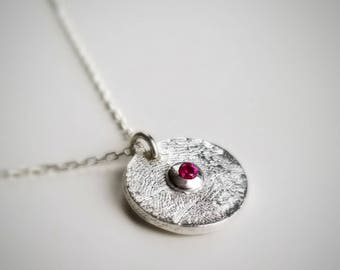 FINGERPRINT Jewelry,Sterling Silver,Birthstone,Charm,Keepsake,Necklace,Gift,Mothers Day,Anniversary,New Mom,Baby,Grandma,Memorial,Loved One