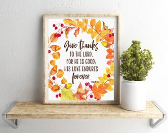 Give Thanks, Autumn Printable Art, Fall Wreath, Faith Printable, Psalm 107, Fall Printable Sign, Festive Home Decor, 8x10 - INSTANT DOWNLOAD