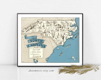 NORTH CAROLINA MAP Print Digital Download - printable vintage picture map for framing, pillows, totes & cards - fun wedding art