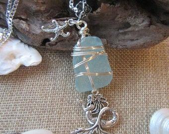 Mermaid Beach Sea Aqua Blue Glass Starfish Sterling Silver Pendant Necklace