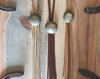 Fringe concho necklace
