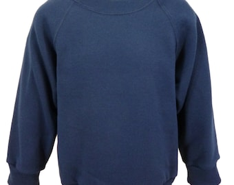 Navy Sweatshirt, cotton/polyester, raglan sleeves, soft brushed inside for warmth and comfort.   Made in England.  6 childs sizes