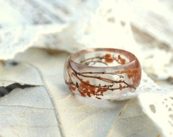Pressed Flower Jewelry, Resin Terrarium Garden Plant Ring, Mens Rings, Nature Inspired Floral Rings, Stackable Ring, Botanical Gift