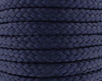 Cotton braided cord / Navy Blue / width 7mm, 50cm cut