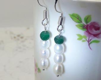 Emerald Pearl Sterling Silver Earrings Dangle Earrings Wedding Earrings Bride Bridesmaid May Birthstone June Birthday Delicate Earrings