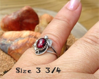 Vintage NATIVE Ring RED GARNET Size 3 3/4  Handmade