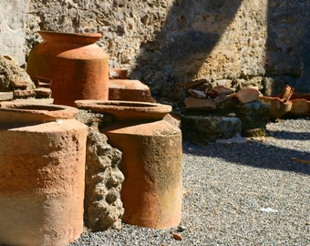 Italy photo - Ancient Pompeii Life - Fine art photography - historic stone artifacts - terracotta, taupe, ivory - Kitchen art - SPA art