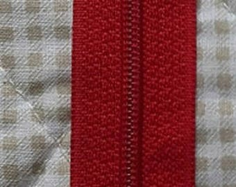 ZIP closed end zipper PRESTIL Z51 - 18cm - red 850 - for skirts, dresses, cushions...