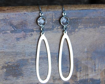 Faceted Crystal Quartz Bezel & Sterling Silver Hoop Earrings