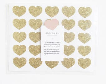 Gold glitter heart stickers. (50 pieces)