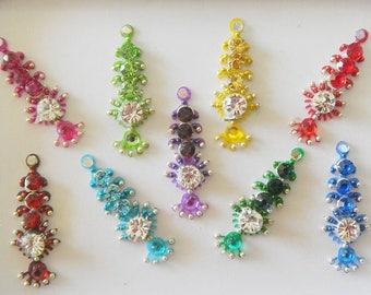 9 Rocket Yellow/Red/Blue/Green Crystal Bindi Bellydance accessory Forhead makeup designer bindi Indian wedding jewelry Bollywood party bindi
