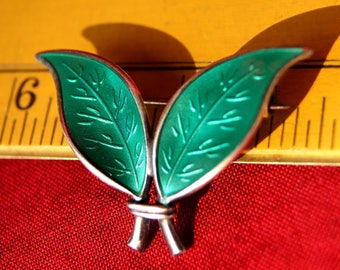 DAVID ANDERSEN STERLING Silver and Green Enamel Double Leaf Pin: Vintage 1950's - D.A. from Norway is Famous for Enameled Jewelry