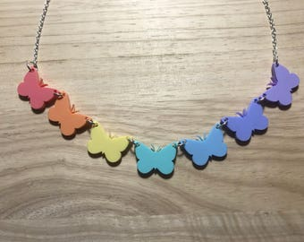 Pastel Rainbow Butterflies Acrylic Handmade Necklace
