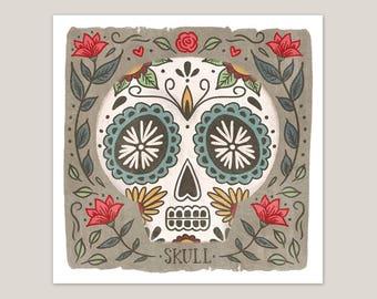 Santa Fe Sugar Skull - Art Print 8x8