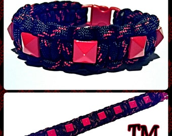 Red Studded Paracord Bracelet