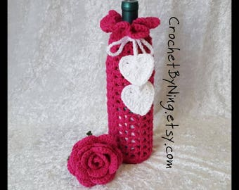 Pink Wine Bottle Cozy, Crochet Wine Bottle Gift Bag Holder, Handmade Gift for Her, Valentines Day Gift, Ready To Ship