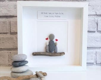 Framed Pebble Art, family, Pebble Picture, Mother's Day Gift, Family Pebble Picture, Framed Pebble Picture, personalised Mothers Day Gift