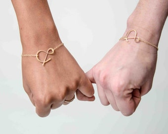 BFF set ampersand rose gold bracelets