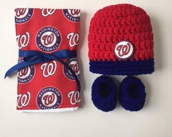 Washington Nationals baby hat, booties and burp cloth, Nationals baby shower gift, Nationals burp rag, Washington Nationals, baseball gift