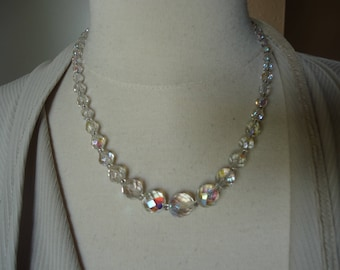 """Vintage Graduated Faceted Cut Glass Necklace, Sarah Coventry, 19 1/2"""""""