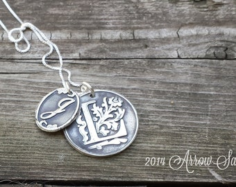Personalized Jewelry Double Initial Pendant Large & Small + Necklace made from Recylced, Reclaimed fine silver .999 Great Gift!
